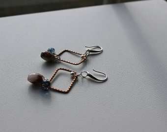 Copper, Pearl, Swarovski Crystal, & Mixed Quartz Earrings