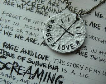 RAGE & LOVE // hand-stamped round green day necklace. american idiot.