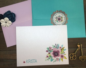 Note Cards - Floral - Personalized Note Cards - Flat or Folded - Vibrant Colors - Teal - Purple