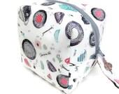 KNITTING PROJECT BAG - Sock Cube, Zippered Box Bag, Tea Time, Zippered Project Bag, Handmade, Knitting Bag, Crochet, Sock Bag, Hat Bag