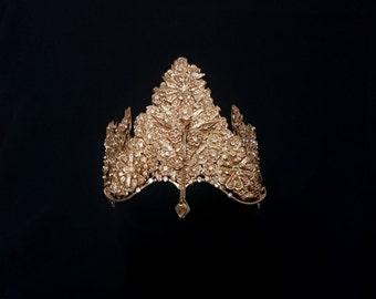 Vintage Indonesian Bridal Wedding Crown, Traditional Sumatran Gold Flower Diamante Peacock Dance Headdress, Art-Nouveau Fairytale Princess