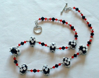 Black and White Lampwork Necklace