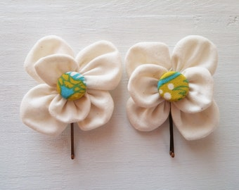 Bobby Pins with White Fabric Flowers and Covered Button Centers