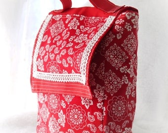 Lunch Bag, Lunch Sack, Lunch Tote, Reusable Lunch Tote, Red and White Lunch Sack Bag Again