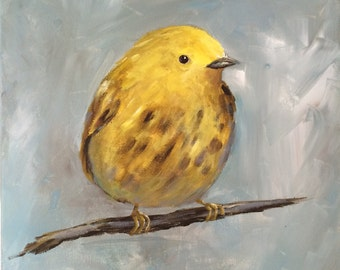 Yellow Warbler Acrylic Painting