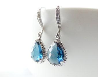 Bridal Jewelry Bridal Earrings Drop Earrings Wedding Jewelry Earrings Bridesmaid Gift Silver Dangle Earrings Blue Earrings Cubic Zirconia