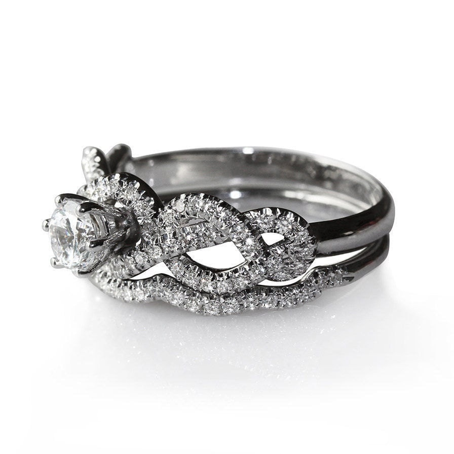 Infinity Knot Diamond Engagement Ring With By