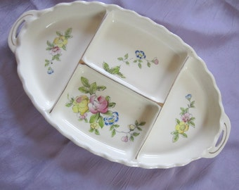 Divided Dresser Tray Vanity Tray Floral Pottery Gold Trimmed Royal Trico Vintage Mid Century Japan