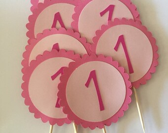 Pink Cupcake Toppers, Hello Kitty Inspired