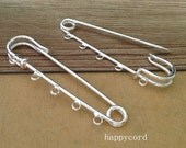 10pcs  silver color brooch Pin with five holes 15mmx70mm