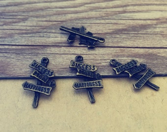 20pcs Antique bronze road signs Pendant Charms 12mmx23mm