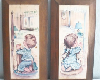Coby Wall Hanging Picture Pair of Little Boy and Little Girl Saying Prayers Before Bedtime