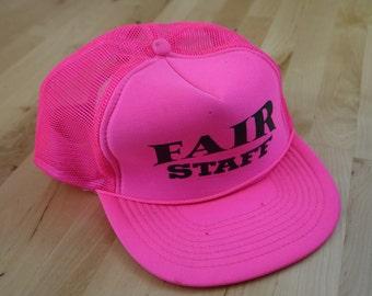 Vintage Neon Pink Fair Staff Hat
