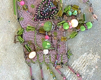 Vintage mesh purse necklace cross body assemblage tassels Spring greens and lavenders