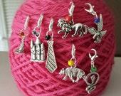 Harry Potter Theme Set of 4 Knitting Stitch Marker/Progress Keeper-Project Bag Zipper Charms-Sorting Hat/Hogwarts Castle/House Tie/1-Mascot