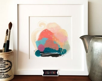 Bright abstract landscape art print