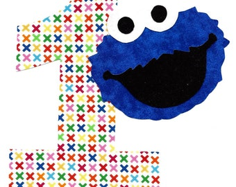 DIY Cookie Monster applique and pick any number iron on applique Birthday applique