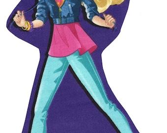 Barbie iron on applique DIY - purple background
