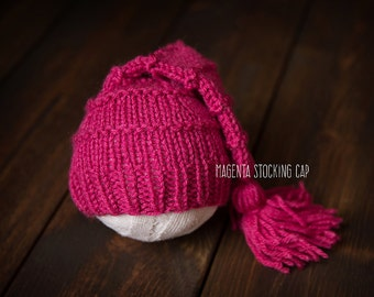 Knit Newborn Baby stocking cap hat magenta pink ready to ship Photography Prop RTS