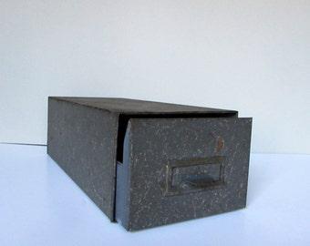 Vintage Metal File Box - Metal Box with Drawer - Long Metal File Box - Industrial Box