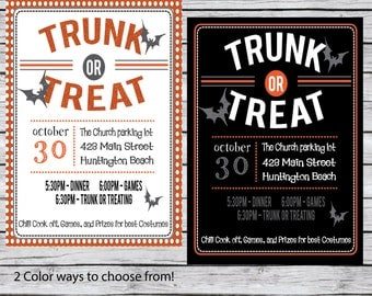 Trunk or Treat Halloween Party invitation, Event Flyer