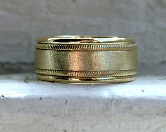 Wide Heavy Vintage 18K Yellow Gold Wedding Band with Satin Center, 9mm.