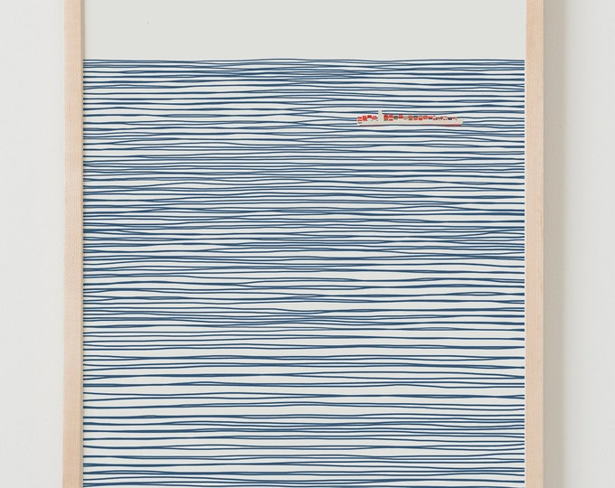 Fine Art Print. Container Ship on Striped Ocean. January 6, 2014.
