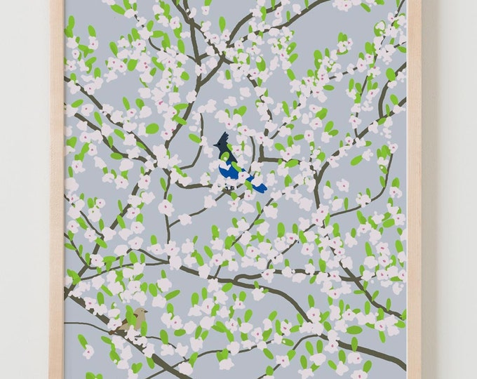 Fine Art Print. Blue Jay and Sparrow in Plum Tree.  February 27, 2012.