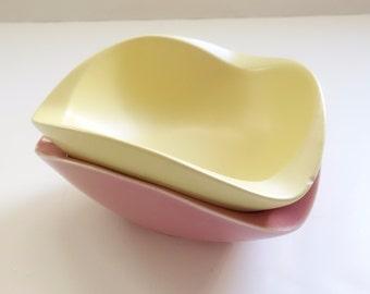 Vintage Yellow Pink Pottery Bowls, Retro Ceramic Dishes, Mid Century Freeform Biomorphic