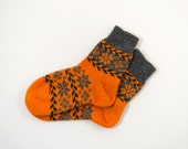 Knitted Wool Socks, Folk Pattern Socks - Orange and Gray, Size Large