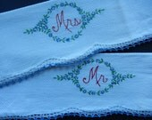 Vintage Tea Towels - Mr & Mrs Tea Towels - Vintage Linens - Embroidered Tea Towels - Crocheted Edging