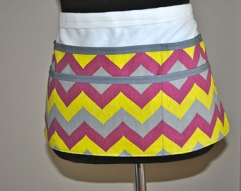 Chevron utility Apron, Women's Vendor Apron, Purple Chevron Apron,  Gray chevron apron, Teacher apron, Craft fair apron, vendor apron
