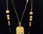 Black and gold double necklace with cameo (206)