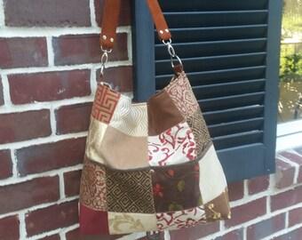 BESTSELLER. Patchwork Gypsy Bucket bag, Hobo Bag, Slouch Bag with leather strap.