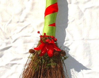 Large Festive Yule Broom