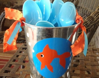 SALE Under the Sea Goldfish Themed Tin for spoons or forks