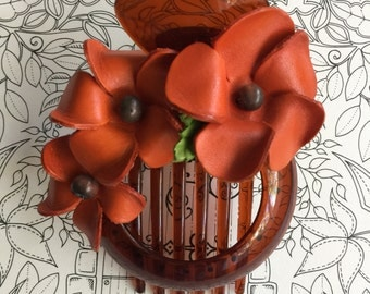 Plumeria flower leather hair comb and bun holder