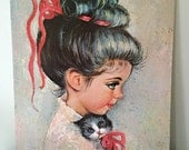 Large Myrle Medeiros Girl and Kitten Lithograph Print
