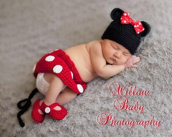 Infant Newborn Baby Crochet Minnie Mouse Hat/Diaper Cover/Shoes Photo Prop Costume, Baby Gir.. Bow Hat  skirt and Shoes Newborn Photo prop