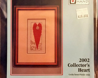 Cross Stitch Pattern, Heart in Hand, 2002 Collector's Heart.