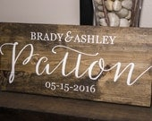 Personalized Family Name Sign, Wedding Date, Hand Painted Wood Sign, Wedding Gift, Anniversary Gift, Shower Gift