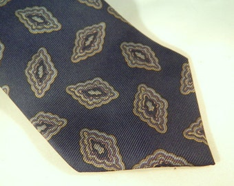 Vintage Silk Tie / Navy Blue and Silver Sheaf & Caber Necktie / Italian Silk Tie