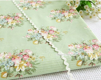 Cotton Fabric, Twill Cotton Fabric, Shabby Chic,Vintage Rose Flower Stripes On Light Green Cotton Fabric,Decor Fabric 1/2 Yard (QT891)