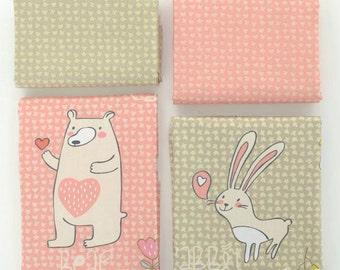 Twill Cotton Fabric for craft, Pink Khaki Cartoon Bear Rabbit Cute Pattern, Decor Fabric 1/2 Yard (QT618)