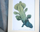 Coelacanth Headstand Surreal fish limited edition engraving and linocut