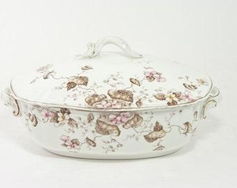 Vintage J&G Meakin Covered Serving Dish, Royal Semi Porcelain, England, 1910