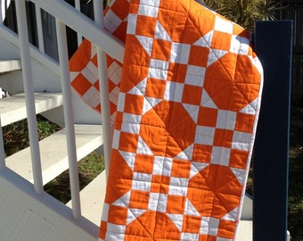 Sunshine Baby Quilt - Modern Orange Cot Quilt