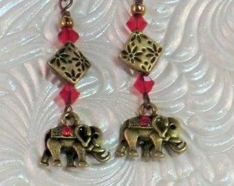 Tiny elephant charm earrings, boho India brass and swarovski red rhinestone elephant earrings, gypsy gold, red earrings, elephant charm