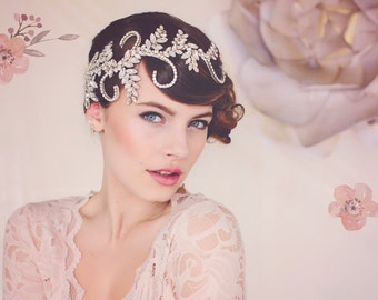 wedding Tiara. Statement Headpiece. Bridal Crystal Headpiece tiara. The Audrey Crystal Bridal Headpiece #139