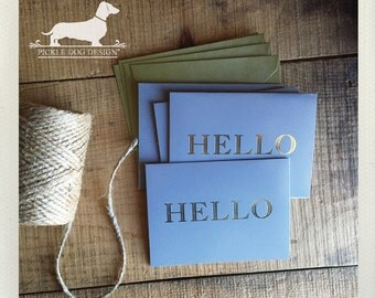 CLEARANCE! Gold Foil Hello. Note Cards (Set of 4) -- (Vintage-Style, Gray, Grey, Gold, Simple, Hello Card, Thank You Card, Bridal Shower)